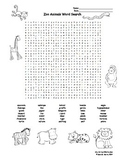 Zoo Animals Word Search and Classification Activities