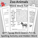 Zoo Animals Word Work Fun