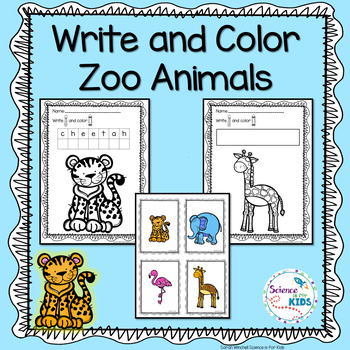Zoo Animals Write and Coloring Pages PreK and Kindergarten by Sarah ...