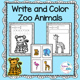 Zoo Animals Write and Coloring Pages PreK and Kindergarten