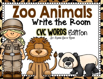 Zoo Animals Write the Room - CVC Edition