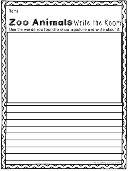 Zoo Animals Write the Room {Jungle Safari Theme}