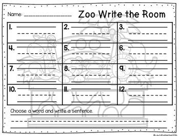 Zoo Animals Write the Room Vocabulary
