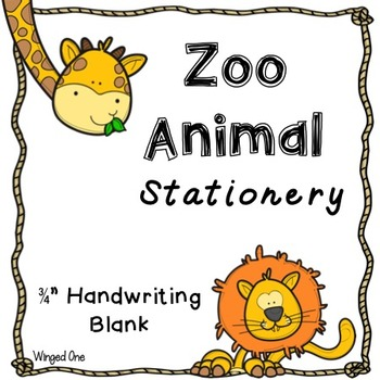 Zoo Animals Writing Paper