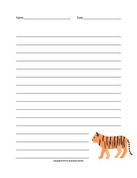 tiger writing paper