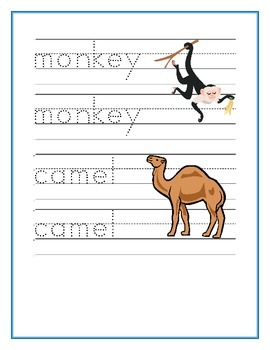 Zoo Animals in English Writing, Reading and Counting Worksheets