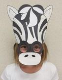 Zoo Animals Zebra Sentence Strip Hat Mask