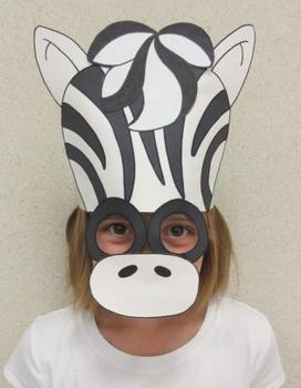 Zoo Animals Zebra Sentence Strip Hat Mask
