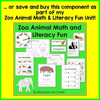 Zoo Animal Trace and Write Mat Literacy Center