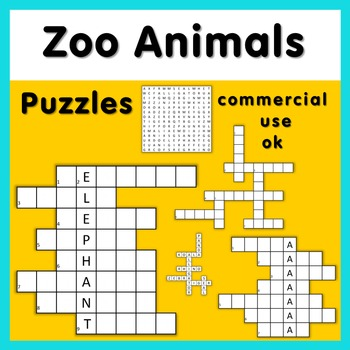 Zoo Animals puzzle graphics for commercial use