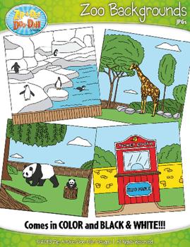 Zoo Background Scenes Clipart {Zip-A-Dee-Doo-Dah Designs}