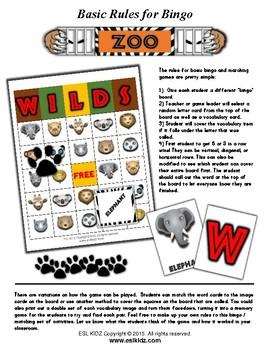 Zoo Bingo Matching Activities