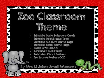 Zoo Classroom Theme - Editable