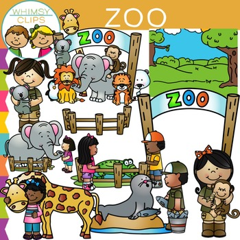 Kids at the Zoo Clip Art