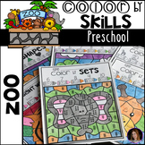 Zoo Color by Code Math and Literacy Skills for Preschool