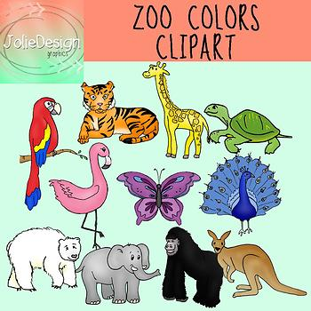 Zoo Colors Clipart - Color and Line Art 22 pc set