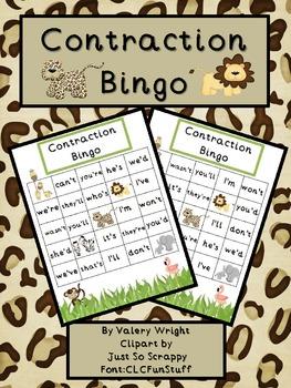 Zoo Contraction Bingo Common Core
