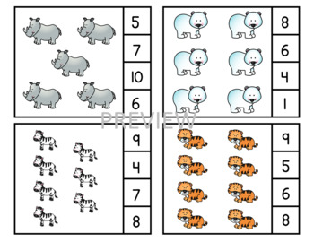 Zoo Count & Clip Cards