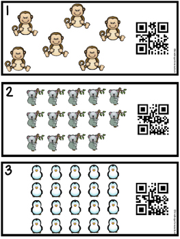 QR Code  Zoo Count, Write, Scan Task Cards 1-20