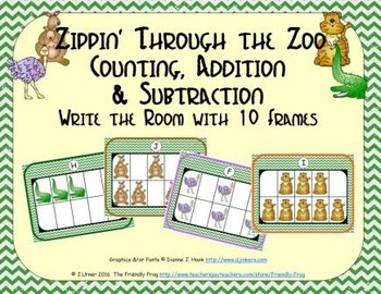 Zoo Counting, Addition & Subtraction with Ten Frames {Subitizing}