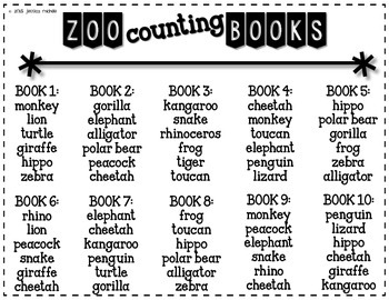 Zoo Counting Books