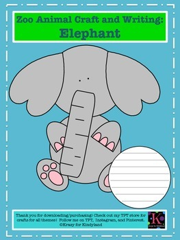 Zoo Craft And Writing Pack: Elephant, Giraffe, Flamingo, Kangaroo, Tiger