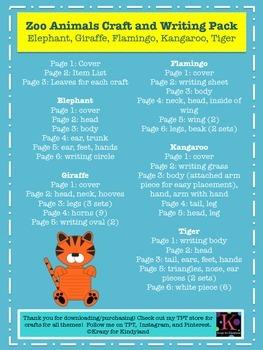 Zoo Craft & Writing Pack: Elephant,Giraffe,Flamingo,Kangaroo,Tiger (Research)