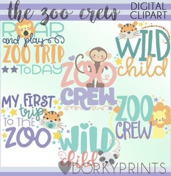 Zoo Crew Word Art Clip Art