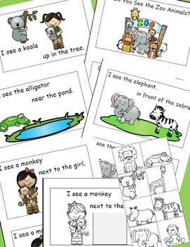 Zoo Animals, Emergent Reader, Positional Word, Cut and Paste, Activities