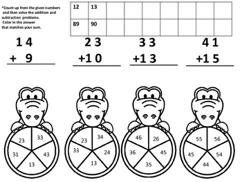 Zoo Double Digit Addition and Subtraction with Counting On