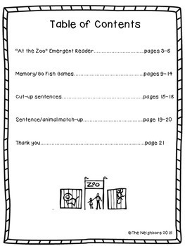Zoo Emergent Reader (high frequency words: I, see, a, an)