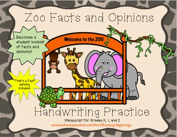 Zoo Facts and Opinions Handwriting Practice