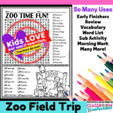 Zoo Field Trip Activity: Zoo Word Search