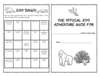 Zoo Field Trip Adventure Guide -- Free!  -- Field Trip Resource