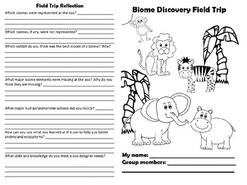 Zoo Field Trip Booklet- Biome Explorations