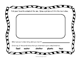 Zoo Field Trip Booklet Workbook - Use On or After the Field Trip