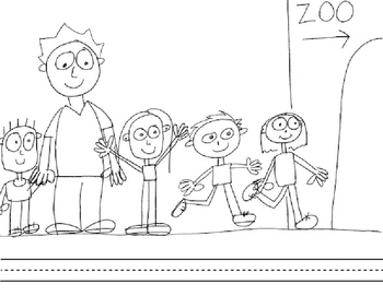 Zoo Field Trip Coloring Book with blank sentence strips