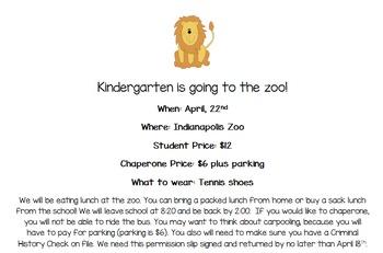 Zoo Field Trip Form