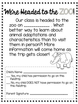 Zoo Field Trip Permission Slips, Student Reflection, and More!