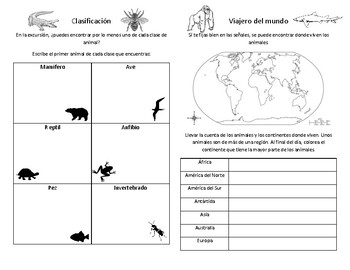 Zoo Field Trip Guide Spanish