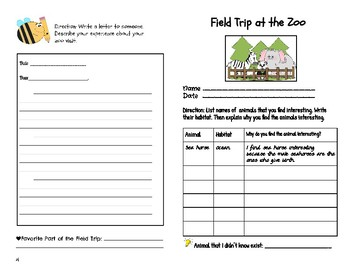 Zoo Field Trip Pre-Activity and Post-Activity