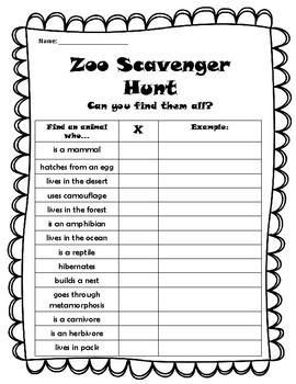 Zoo Field Trip Scavenger Hunt-English/Spanish (Free!)