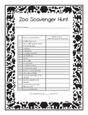 Zoo Field Trip Scavenger Hunt - Grades 3-6