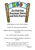 Zoo Field Trip Scavenger Hunts & Data Charts for K & 1