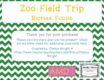 Zoo Field Trip Worksheet - Biomes Focus