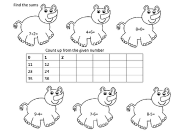 Zoo First Grade Math Review