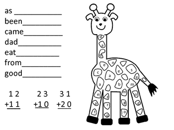Zoo First Grade Sight Words and Double Digit Addition