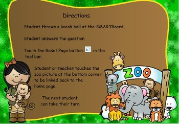 Zoo Fractions Koosh Ball Game  SMARTBoard