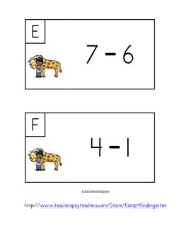 Zoo Friends Subtract the Room (Minuends to 10)