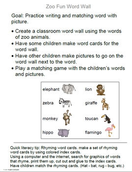 Zoo Fun Literacy Activities